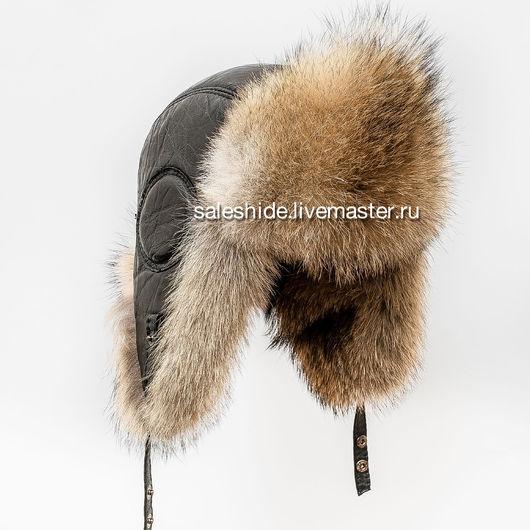Шапки ручной работы. Ярмарка Мастеров - ручная работа. Купить Мужская шапка ушанка из меха степного волка (Авиатор). Handmade.