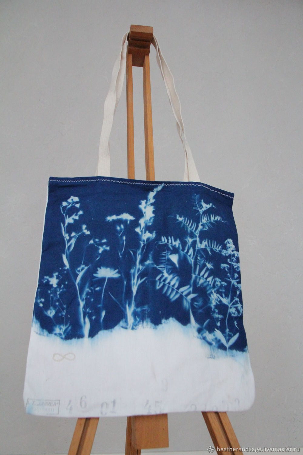 Bag-cyanotype with forest flowers #1, Shopper, Ekaterinburg,  Фото №1
