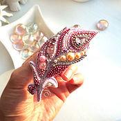 Brooches handmade. Livemaster - original item Pink Flamingo Feather Brooch