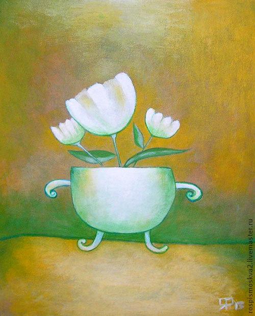 Картины цветов ручной работы. Ярмарка Мастеров - ручная работа. Купить Картина  Белые  цвет   доброе  ярко   секретнадпись. Handmade.