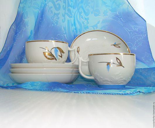 Винтажная посуда. Ярмарка Мастеров - ручная работа. Купить 50-е чайная пара Вербилки. Handmade. Белый, винтажный, фарфор
