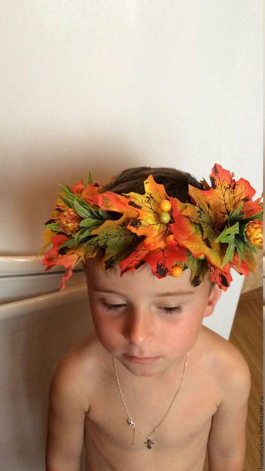Диадемы, обручи ручной работы. Ярмарка Мастеров - ручная работа. Купить Осенний веночек на голову. Handmade. Оранжевый, венок