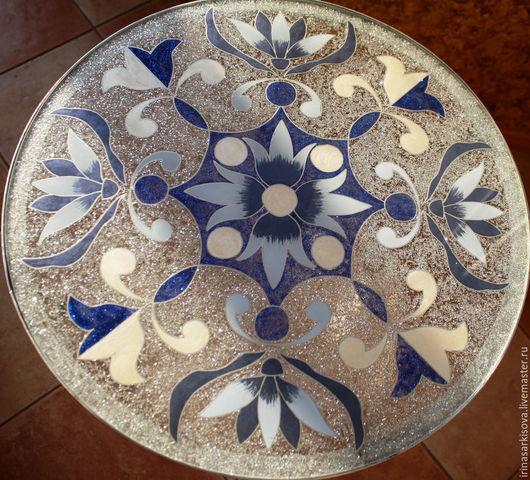 """Мебель ручной работы. Ярмарка Мастеров - ручная работа. Купить Стол со стеклянной столешницей  """"Синие фантазии на серебре"""". Handmade."""