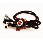 Украшения handmade. Livemaster - original item Hair decoration flower amber bracelet hair clip elastic band. Handmade.