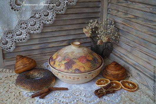 """Кухня ручной работы. Ярмарка Мастеров - ручная работа. Купить """"Фруктовый букет""""-Хлебница-блинница. Handmade. Бежевый, керамическая посуда"""