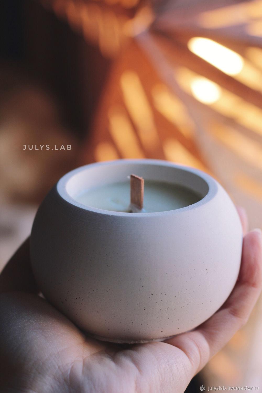 Соевая свеча в бетоне с древесным фителем Шар Сканди, Свечи, Санкт-Петербург,  Фото №1