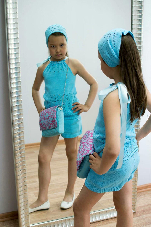 Летний хлопковый ажурный костюм для девочки, Одежда для девочек, Пенза, Фото №1