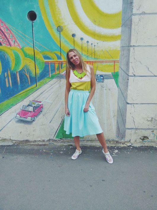 Юбки ручной работы. Ярмарка Мастеров - ручная работа. Купить Трикотажная юбка. Handmade. Юбка, одежда, тренд, лето, трикотаж