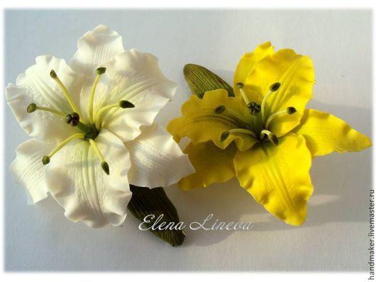 """Заколки ручной работы. Ярмарка Мастеров - ручная работа. Купить Заколка - зажим  """"Лилии"""". Handmade. Белый, крупные цветы"""