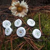 Материалы для творчества handmade. Livemaster - original item Buttons ceramic white bird. Handmade.