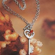 handmade. Livemaster - original item Necklace Pendant on a chain The key to the heart with rock crystal. Handmade.