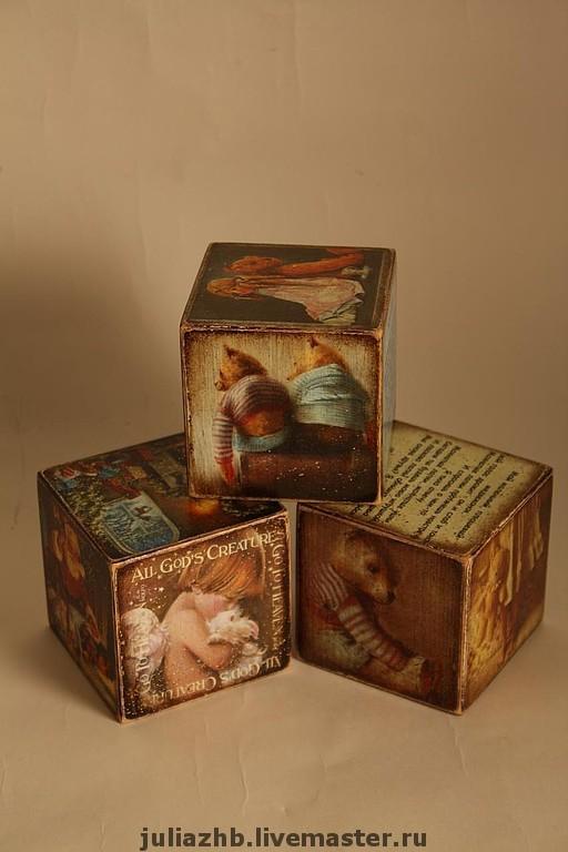 Детская ручной работы. Ярмарка Мастеров - ручная работа. Купить Еще кубики. Handmade. Кубики, Новый Год, декупаж