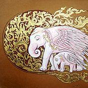 Картины и панно ручной работы. Ярмарка Мастеров - ручная работа Картина Волшебные слоны золотой коричневый. Handmade.