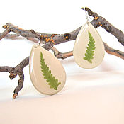 Украшения handmade. Livemaster - original item Drop earrings with Real Green Fern Leaf Eco Decoration. Handmade.