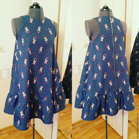 """Платья ручной работы. Ярмарка Мастеров - ручная работа. Купить Мини платье для озорной девченки """"Мини"""". Handmade. Тёмно-синий"""