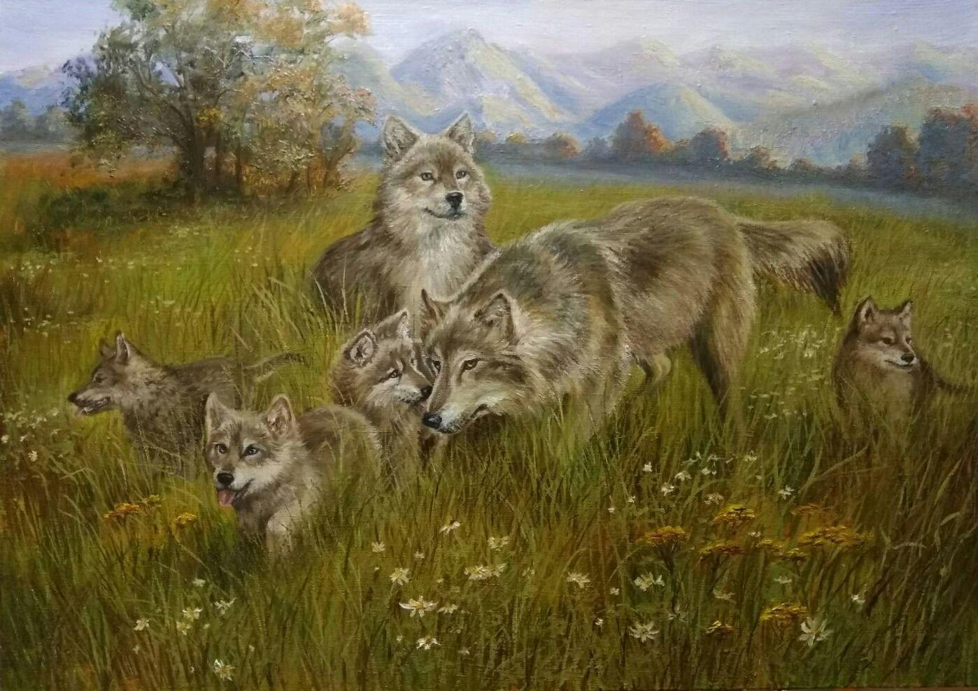 Картина. Пейзаж с волками маслом. Дружное семейство, Картины, Озеры,  Фото №1
