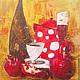 Натюрморт ручной работы. Ярмарка Мастеров - ручная работа. Купить Натюрморт с красным чайником. Handmade. Бокал, бутылка, чайник, орнамент