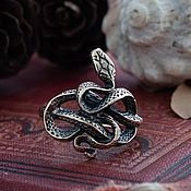 Украшения handmade. Livemaster - original item Ring with a snake. Snake Ring. Snake ring. bronze silver.. Handmade.