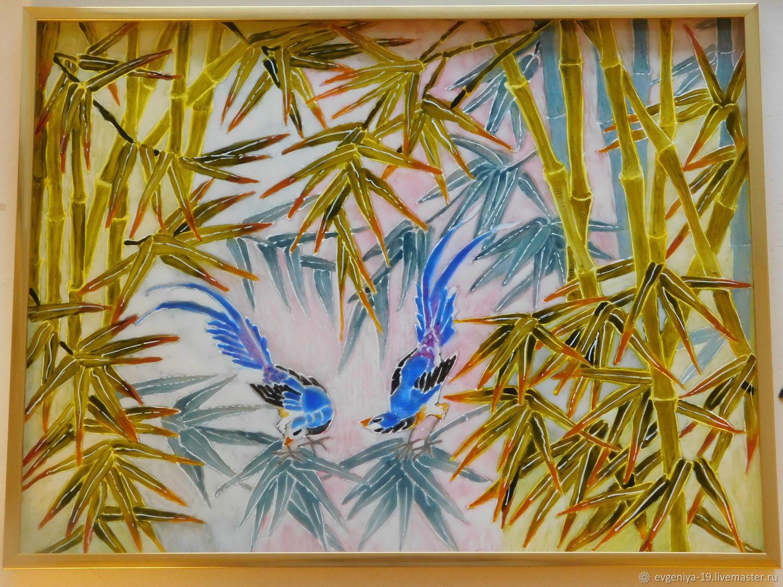 Животные ручной работы. Ярмарка Мастеров - ручная работа. Купить Бамбуковые джунгли. Handmade. Витраж, картина на стекле, витражный контур