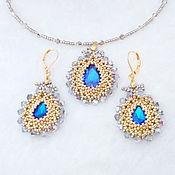 Украшения handmade. Livemaster - original item Jewelry set Blue ocean drop pendant and earrings. Handmade.