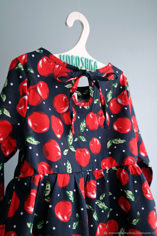 Платье для девочки Черешня красная на синем