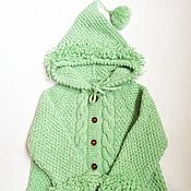Одежда детская handmade. Livemaster - original item Light green knitted cardigan with a hood for a girl 2-3 years old as a gift. Handmade.
