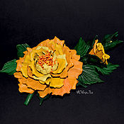 Украшения handmade. Livemaster - original item Brooch of the skin Yellow rose. Handmade.