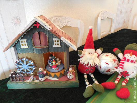 """Винтажные предметы интерьера. Ярмарка Мастеров - ручная работа. Купить Музыкальная шкатулка """"Рождество"""", снеговики, винтаж. Handmade. Комбинированный, винтаж"""