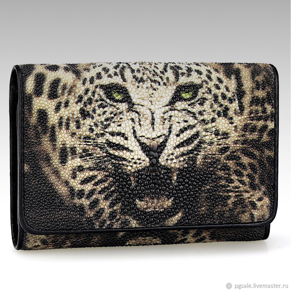 Small Stingray leather wallet with leopard pattern, Wallets, St. Petersburg,  Фото №1