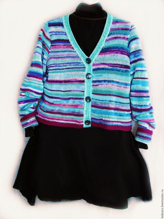 """Кофты и свитера ручной работы. Ярмарка Мастеров - ручная работа. Купить Кардиган """"в полосочку"""". Handmade. Комбинированный, вязаная, кофта"""