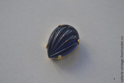 Для украшений ручной работы. Ярмарка Мастеров - ручная работа. Купить Винтажные стразы 18х13 мм. цвет Navy Blue. Handmade.
