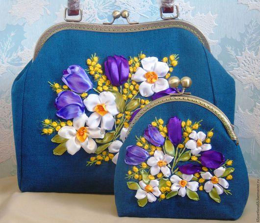 """Женские сумки ручной работы. Ярмарка Мастеров - ручная работа. Купить сумка, вышивка лентами """"Аромат весны 4"""". Handmade."""