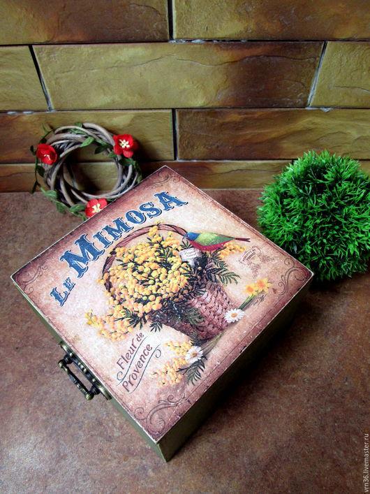 """Корзины, коробы ручной работы. Ярмарка Мастеров - ручная работа. Купить """" Мимоза"""" короб для хранения. Handmade. Комбинированный, распечатка"""