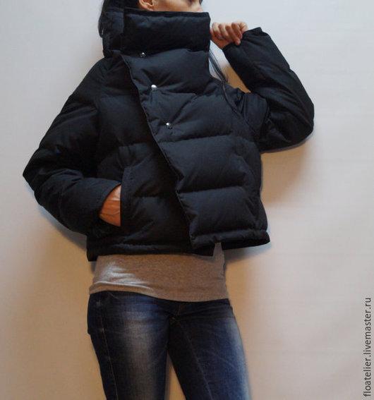 Верхняя одежда ручной работы. Ярмарка Мастеров - ручная работа. Купить Черная куртка из полиэстера/Модная куртка/F1481. Handmade. Черный