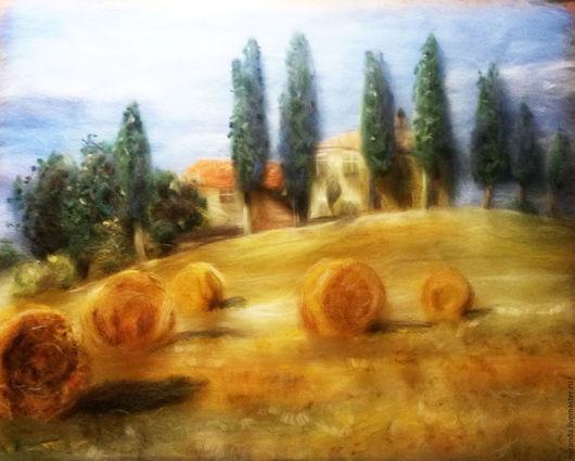 Пейзаж ручной работы. Ярмарка Мастеров - ручная работа. Купить Стога. Handmade. Оранжевый, Стога, сено, дом, Деревенский пейзаж