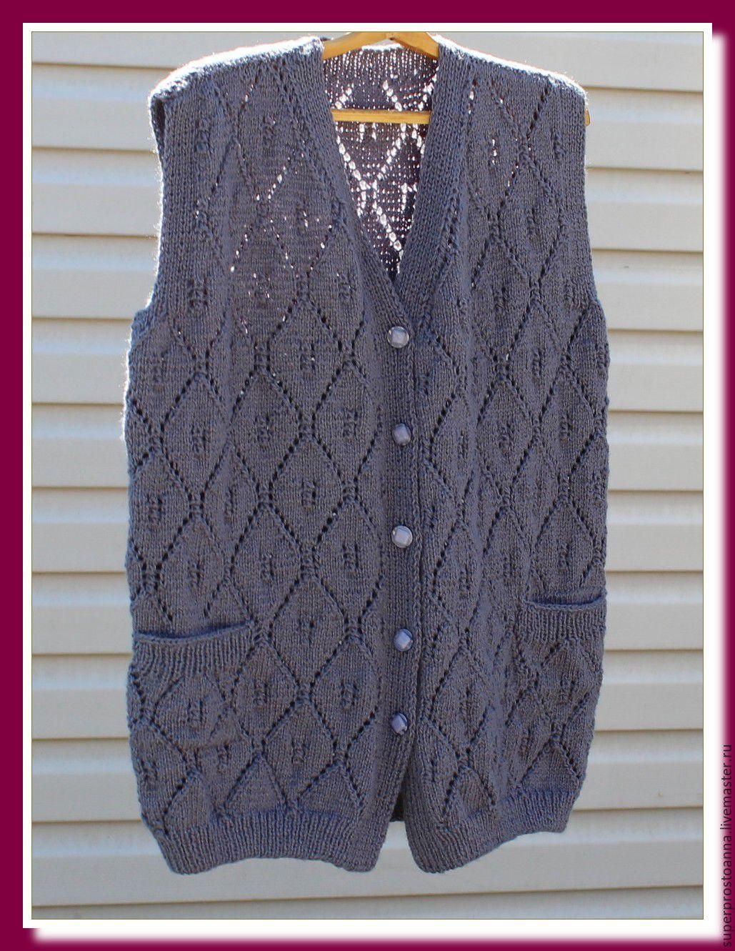 Ручное вязание на спицах безрукавка