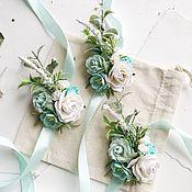 Браслеты ручной работы. Ярмарка Мастеров - ручная работа Браслет для подружек невесты с мытными и молочными цветами. Handmade.