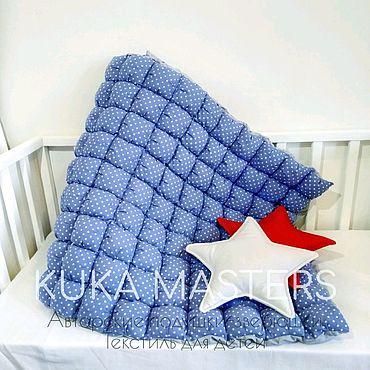 Текстиль ручной работы. Ярмарка Мастеров - ручная работа Одеяло бомбон, одеяло-пуфики, синее покрывало бомбон. Handmade.