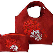 Сумки и аксессуары handmade. Livemaster - original item Red suede bag and purse.. Handmade.