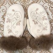 Аксессуары handmade. Livemaster - original item Exclusive gift - Mittens with fur. Handmade.