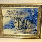 Картины и панно ручной работы. Ярмарка Мастеров - ручная работа Картина вышитая Волк и Волчица. Handmade.