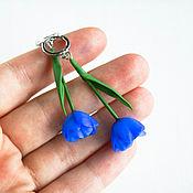 Украшения handmade. Livemaster - original item Tulip earrings, blue, polymer clay. Handmade.