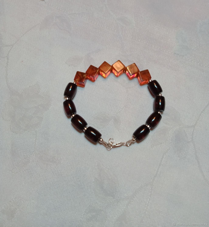 Men's natural amber bracelet with 925 sterling silver, Bead bracelet, Sergiev Posad,  Фото №1