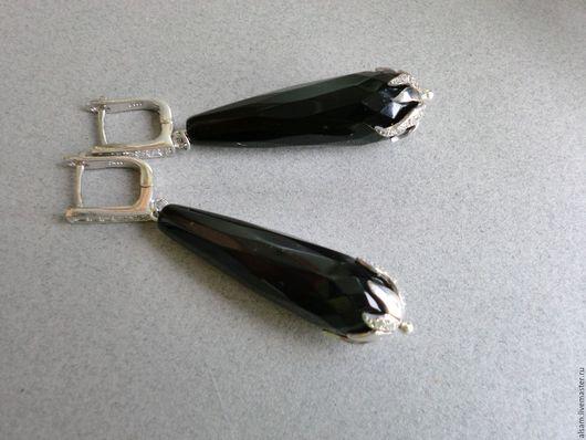 """Серьги ручной работы. Ярмарка Мастеров - ручная работа. Купить серьги """"Royal Black"""". Handmade. Черный, серебряные серьги"""