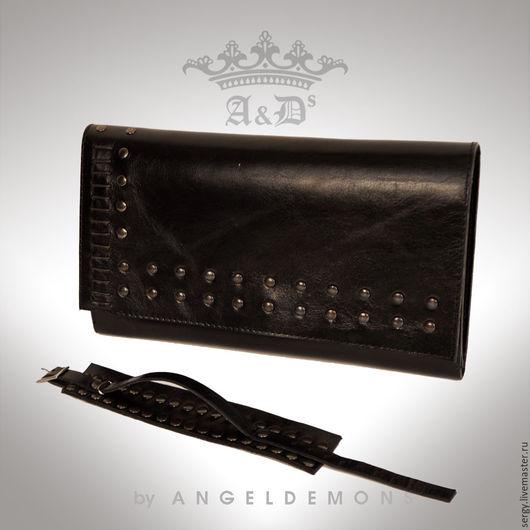 Кошельки и визитницы ручной работы. Ярмарка Мастеров - ручная работа. Купить Клатч и браслет Antique Leather Black. Handmade. Черный