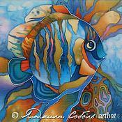 """Картины и панно ручной работы. Ярмарка Мастеров - ручная работа Батик """"Рыбка"""". Handmade."""