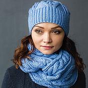 """Аксессуары ручной работы. Ярмарка Мастеров - ручная работа """"Топаз"""", комплект вязаный женский, шарф снуд вязаный и шапка вязаная. Handmade."""