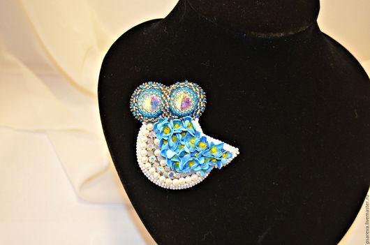 """Броши ручной работы. Ярмарка Мастеров - ручная работа. Купить Брошь сова """" Незабудка """".. Handmade. Голубой, цветы"""