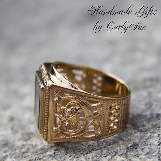 """Кольца ручной работы. Ярмарка Мастеров - ручная работа. Купить Серебро позолоченное кольцо - перстень с ониксом """" Мирах """". Handmade."""