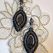 "handmade. Livemaster - original item Серьги из бисера и кристаллов ""Black"". Handmade."